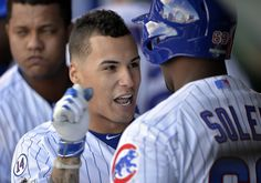 Javier Baez celebrates with Jorge Soler after his 3-run homer in the second inning gave the Cubs a 4-2 lead over the Cardinals.