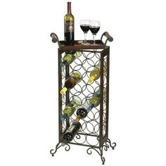 standing wine rack. Large 36 Bottle Free Standing Wine Rack Sturdy Wrought Iron Storage Black New #gracecollections | Mothers Day Birthday Gift Ideas Pinterest
