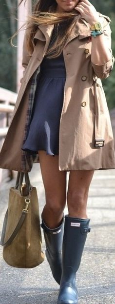 I'm glad I'm not the only one who wears dresses with my hunters.....(real shoes are in the bag) southern street style  ♥✤   KeepSmiling   BeStayBeautiful