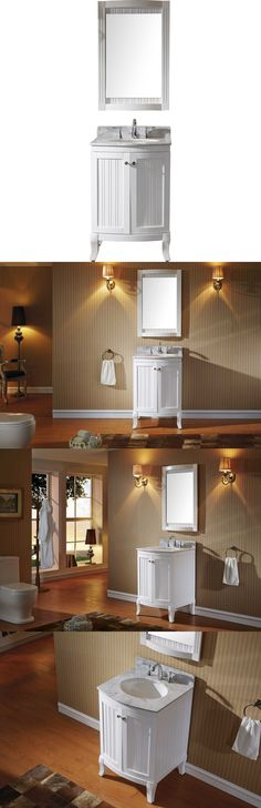 Web Image Gallery Vanities Khaleesi Single Sink Basin Bathroom Vanity Cabinet Marble Top W Mirror White