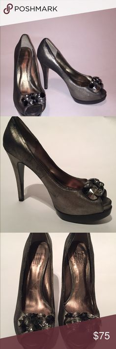 "Platform peep toe heels Gun Metal leather platform heel with jewel collage detail at toes. 5"" heel with hidden 1.5 "" platform. Gently worn twice for outdoor weddings so bottoms are nicely scuffed to prevent slippage PELLE moda Shoes Platforms"