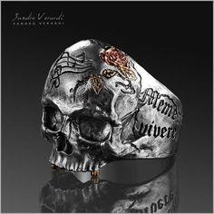 Gold-Tone Croix Crâne Pendentif Argent Sterling .925 Motard charme