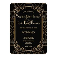 Black Gold Great Gatsby Art Deco 1920s Wedding Card - wedding invitations cards custom invitation card design marriage party
