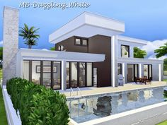 Houses and Lots: Dazzling White house by matomibotaki from The Sims Resource Sims Building, Building A New Home, Bungalow House Design, Modern House Design, Lotes The Sims 4, Luxury Modern Homes, Casas The Sims 4, Dream Mansion, Apartment Floor Plans