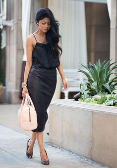 Shop this look on Lookastic:  https://lookastic.com/women/looks/tank-pencil-skirt-ballerina-shoes-satchel-bag-bracelet/10778  — Black Silk Tank  — Gold Bracelet  — Black Leather Pencil Skirt  — Beige Leather Satchel Bag  — Black Leather Ballerina Shoes