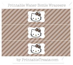 Free Beaver Brown Diagonal Striped Hello Kitty Water Bottle Wrappers