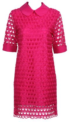 Rose Red Short Sleeve Lace Mesh Chiffon Dress US$89.00