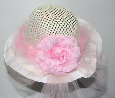 Lil  Ladies Elegant Ivory and Pink Tea Party Hat Tea Party Hats e81d686491d