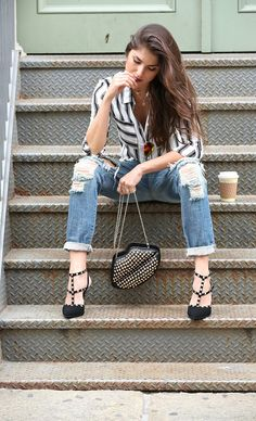 Distressed denim, stripes and studded acessories for fall//