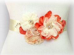 Bridal Sash - Peach Ivory Coral Champagne Sash for wedding, bridesmaid, formal occasion. $94.95, via Etsy.