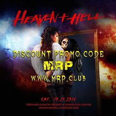 Discount Promo Code MRP Heaven and Hell @ Town & Country Resort Hotel - 29-October https://www.evensi.us/discount-promo-code-mrp-heaven-amp-hell-town-country-resort/188626068