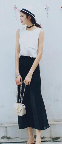 Patchwork cotton blend midi skirt