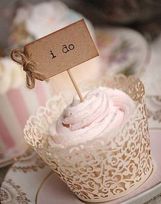 'i do' Party Picks - kraft brown with rustic twine bows (inked)