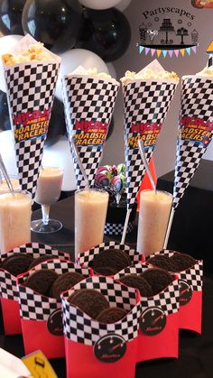 Mickey and the Roadster Racers Birthday Party Dessert Table - French Fry boxes for spare tires made with Cricut and Popcorn Cones 'Funnels' printed on computer