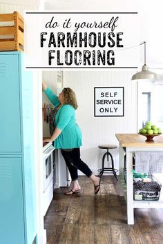 flooring diy Love this idea - create your own farmhouse floors with regular pine wood. Such a budget friendly option - without all of the expense of salvaged or replica farmhouse floors. Remodeling Mobile Homes, Home Remodeling, Kitchen Remodeling, Kitchen Decor, Kitchen Design, Kitchen Ideas, Cozy Kitchen, Kitchen Styling, Farmhouse Flooring