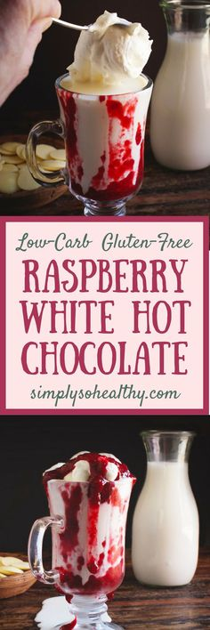 The recipe for Low-Carb Raspberry White Hot Chocolate make a delicious winter treat! This hot white chocolate can work for those on low-carb, keto, gluten-free, grain-free, diabetic, Atkins, and Banting diets. There is even a dairy-free option. #keto #lowcarb #hotchocolate #whitechocolate