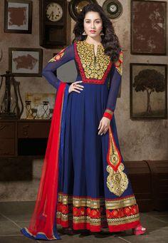 Dark Blue Faux Georgette Abaya Style Churidar Kameez Online Shopping: KCR5688