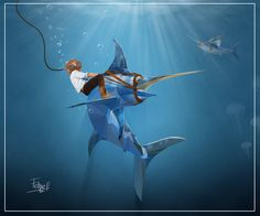 geometric, ilistration, animal, sword, fish, sea