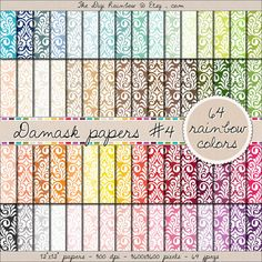 SALE 64 damask digital #scrapbooking paper in #rainbow colors. #Scrapbooking #printable papers or #patterns for #crafts, #journaling, party organization and decor or any #DIY projects.
