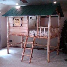 Tree House / Log Cabin custom made wooden Bunk Bed