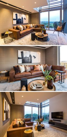This Modern Living Room, Has A Large L Shaped, Brown Leather Couch And A  Black Detailed Chair Provide Seating. Warm Earth Tone Colors Used In The  Decor And ...