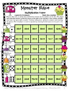 Monsters Division Games Freebie for Fact Fluency: Division Math Board Games FREEBIE - Division Games from by Games 4 Learning. Contains 2 printable NO PREP Division Games Math Board Games, Math Boards, Math Games For Kids, Fun Games, Teaching Division, Division Math Games, Teaching Math, Kindergarten Math, Math Tutor