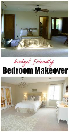 Dramatic budget bedroom makeover! Click through for tons of ideas on how to completely transform your bedroom on a budget! Great ideas.