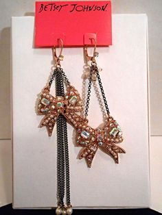 Betsey Johnson NWT Rose Gold Tone Jeweled Bow Mismatched Earrings #BetseyJohnson #DropDangle Visit Trendy Treasures Fashion Trove! http://www.ebay.com/itm/Betsey-Johnson-NWT-Rose-Gold-Tone-Jeweled-Bow-Mismatched-Earrings-/151380717341