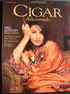 Gina Gershon - Women of Cigar Aficionado October 1998 Good Whiskey, Cigars And Whiskey, Pipes And Cigars, Famous Cigars, Cuban Cigars, Women Smoking Cigars, Cigar Smoking, Killer Joe, Smoking Celebrities