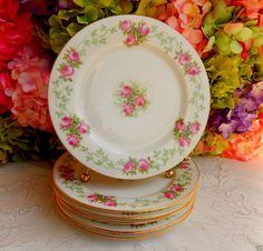 6 Vintage Limoges Ovington Porcelain Luncheon Plates ~ Center Medallion ~ Roses #Limoges