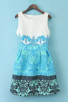 Sp Pretty! Floral Printing Sleeveless Fashion Dress #Spring #Summer_2014 #Fashion find more women fashion ideas on www.misspool.com