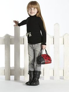 Gucci - Toddler & Little Girl's Bow Turtleneck - GRAY JEANS, CUTE