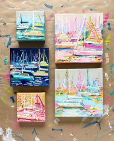 Colorful Coastal Paintings by C. Small Canvas Paintings, Mini Canvas Art, Art Paintings, Portrait Paintings, Acrylic Paintings, Sailboat Painting, Sailboat Art, Sailboat Drawing, Sailboats