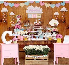 Chuva de amor perfeita 😍 by with… Happy Birthday Girls, Baby Birthday, 1st Birthday Parties, Cloud Party, Deco Floral, Candy Buffet, Unicorn Party, Diy Party, Birthday Decorations
