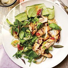 Grilled Chicken Thighs with Thai Basil Salad | CookingLight.com #myplate #protein #vegetables