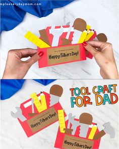 If Dad or Grandpa are the ultimate handymen, they're going to love getting this toolbox Father's Day craft from the kids! It's a simple paper craft that comes with a free printable template. Download it and make with preschool, kindergarten and elementary aged children today!   #simpleeverydaymom #fathersdaycrafts #kidscrafts Fun Crafts For Kids, Craft Activities For Kids, Preschool Crafts, Art For Kids, Easy Paper Crafts, Diy Crafts To Sell, Fathers Day Cards, Happy Fathers Day, Fathersday Crafts