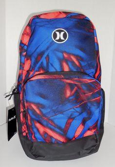 Boys Hurley Renegade Printed Backpack Bookbag Black Blue Red School   eBay 137662cc20