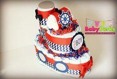 Nautical Diaper Cake Nautical Baby Shower Sailboat by MsPerks