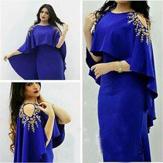 2017 Royal Blue Satin Celebrity Dresses Straight Cap Sleeves Appliques Formal Gowns Scoop Zipper Back Vestidos De Festa