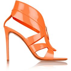 Nicholas Kirkwood Neon patent-leather sandals ($370) ❤ liked on Polyvore featuring shoes, sandals, heels, orange, scarpe, neon shoes, neon heel sandals, zipper sandals, orange high heel sandals and neon orange shoes