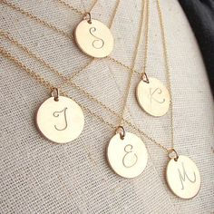 Gold Initial Necklace Gold Letter Charm Necklace by ERiaDesigns