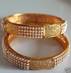 Indian Party Wear Pearl CZ Hinged Kundan Bangle Bollywood Women Kada Jewelry 2*6