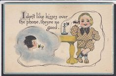 Greeting-Comic-Candlestick Telephone-Kiss-Antique Postcard | eBay