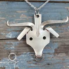 Longhorn Fork Pendant - Handmade from Recycled Antique Forks - Steer - Bull - Cow - Sterling Silver Plated Upcycled Silverware Jewelry by doctorgus on Etsy Fork Art, Spoon Art, Jewelry Crafts, Jewelry Art, Recycled Silverware, Fork Jewelry, Metal Crafts, Metal Projects, Silverware Jewelry