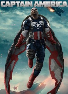 [Image: A modified MCU version of Sam Wilson as Captain America, posed on a movie poster; he has red and grey wings, a Captain America uniform, and the shield on his back.] stefanmarquelle: More fun with photoshop. This time I wanted to see how Anthony Mackie's Falcon from the Winter Soldier movie would look as Captain America. Of course I know that Falcon is only Captain America in the comics, so calm your tits MCU fanboys. I just wanted to see how awesome Anthony Mackie looks in the red…