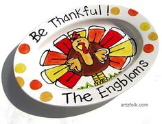 Custom traditions family name thanksgiving platter with happy turkey on Etsy, $70.00