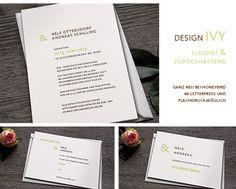 Einladungskarten Hochzeit, Efeu, Letterpress