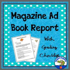 Book Report - Make a Magazine Ad for Your Book Assignment by HappyEdugator
