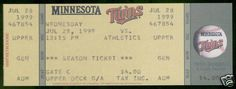 MINNESTOTA TWINS VS OAKLAND A'S 1999 GENERAL ADMISSION FULL TICKET FREE SHIPPING #Athletics #Ticket