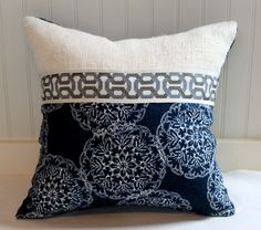 Blue and Ivory Pillow Cover / 18 X 18 / Designer upholstery same fabric on back with ivory burlap and decorative trim